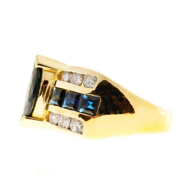 Marquise Cut Marquise Sapphire Diamond Gold Ring  For Sale