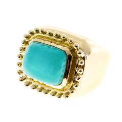 Natural Turquoise Gold Ring