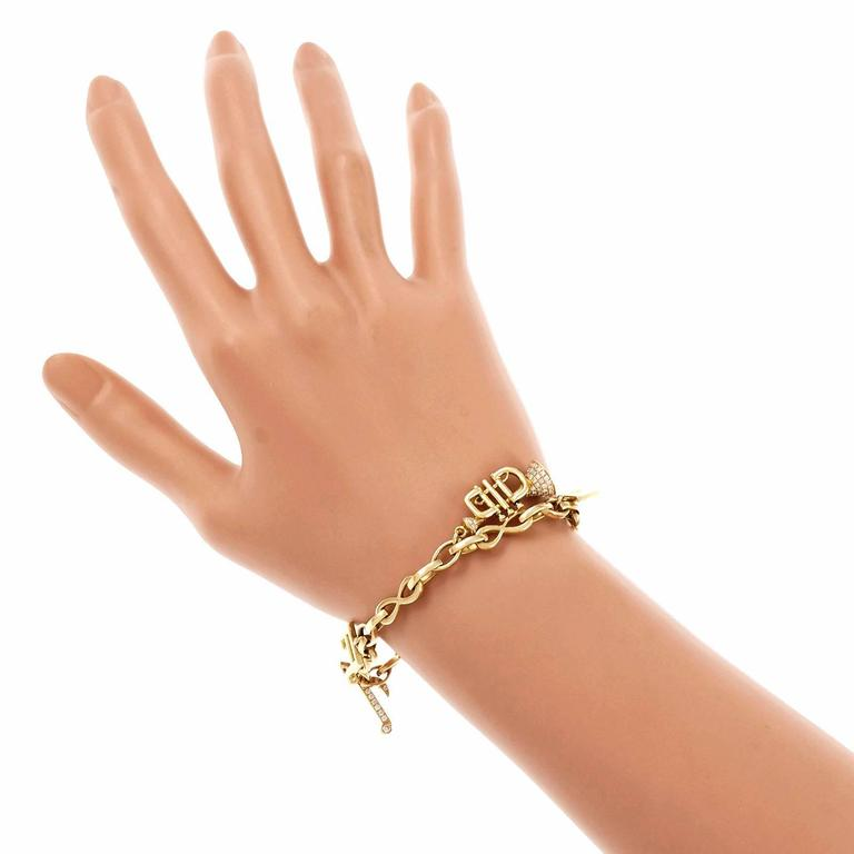 Diamond Gold Music Note Instrument Bracelet For Sale 3