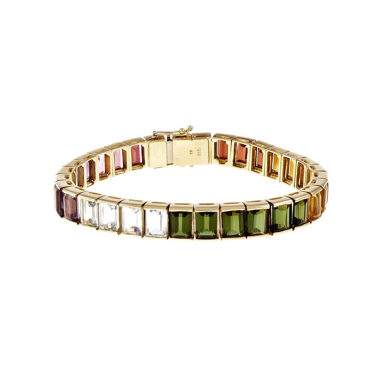 Rubelite Amethyst Tourmaline Citrine Garnet Gold Bracelet