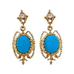 Persian Turquoise Diamond Gold Dangle Earrings