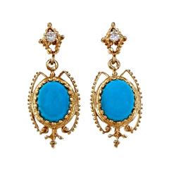 Persian Turquoise Diamond Gold Dangle Earrings