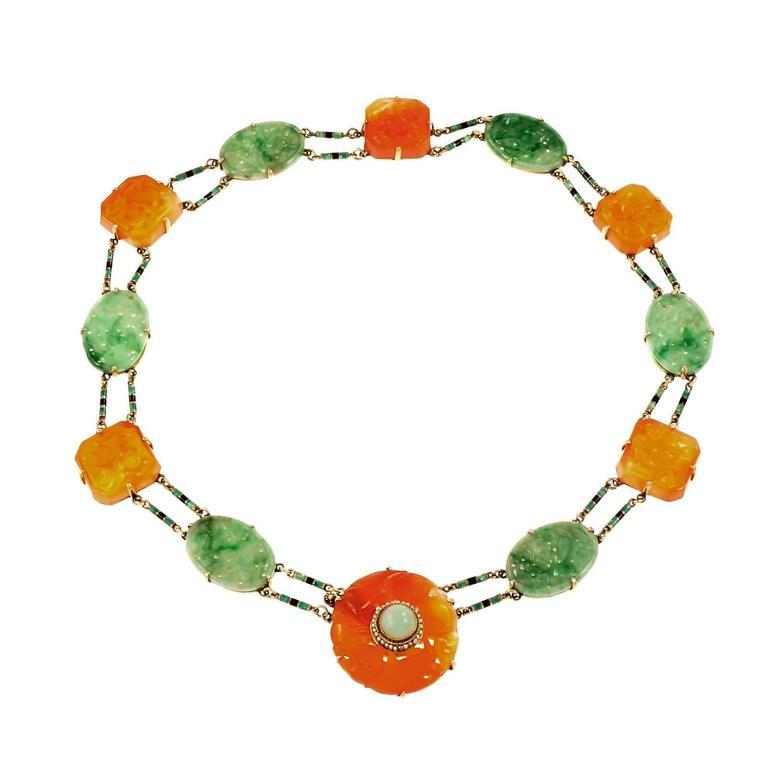 Art Deco Jadeite Jade  Pearl Carnelian Gold Necklace
