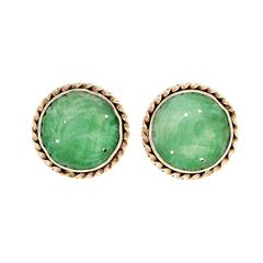 Jadeite Jade Gold Carved Round Earrings