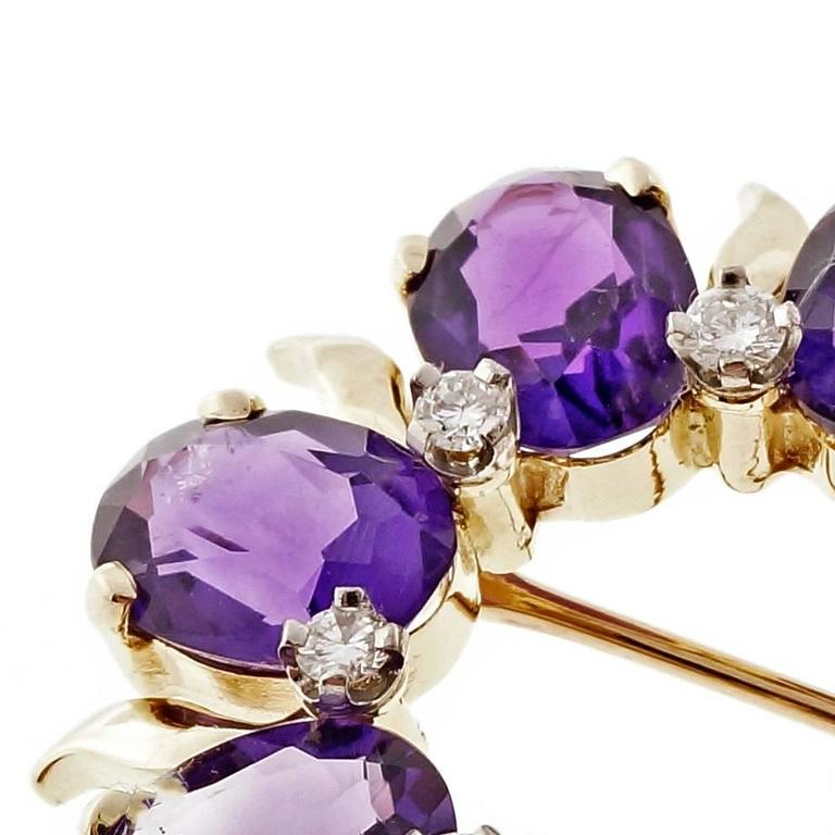 Tiffany & Co. Amethyst Diamond Gold Circle Pin  2