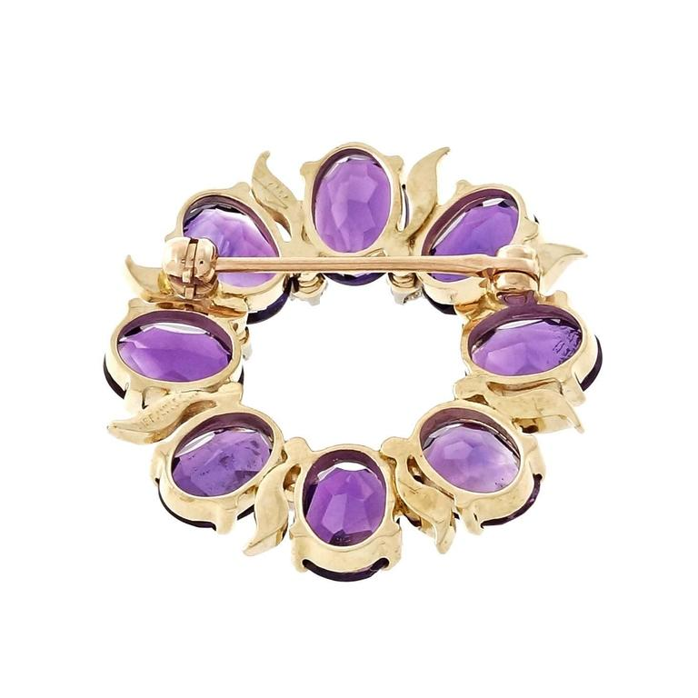 Tiffany & Co. Amethyst Diamond Gold Circle Pin  4