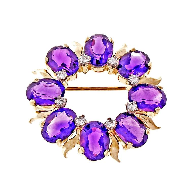 Tiffany & Co. Amethyst Diamond Gold Circle Pin  1
