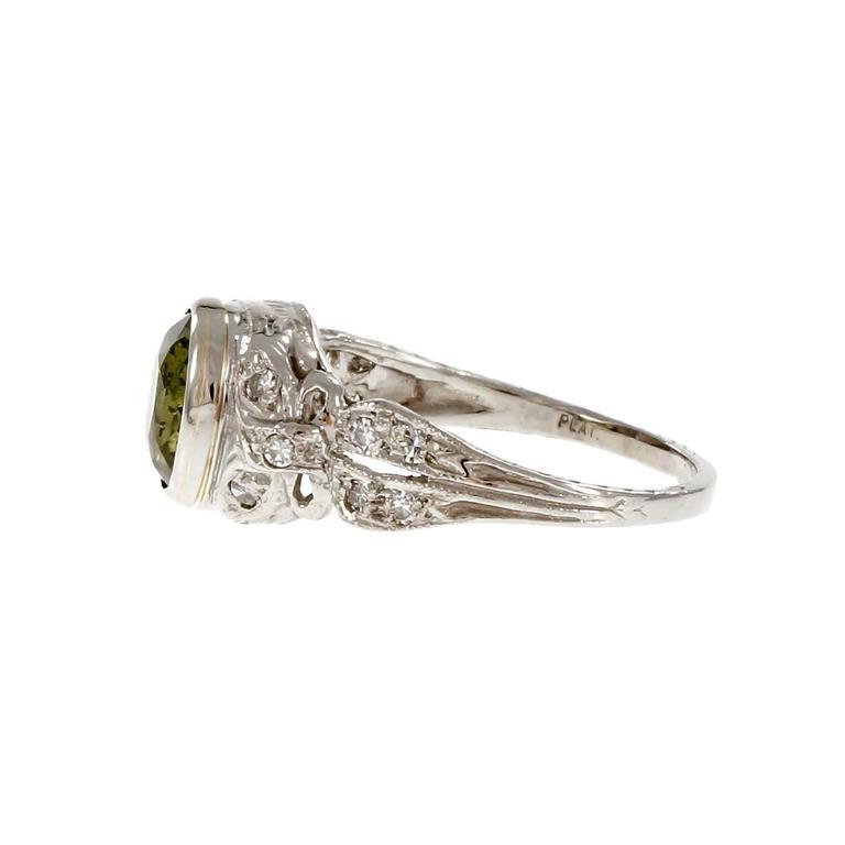 Women's Cushion Cut Alexandrite Diamond Platinum Engagement Ring For Sale