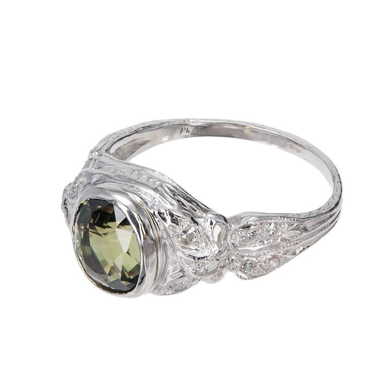 Cushion Cut Alexandrite Diamond Platinum Engagement Ring For Sale 1