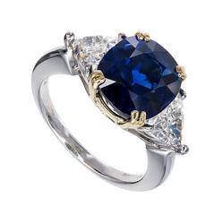 Royal Blue Cushion Sapphire Diamond Gold Platinum Engagement Ring