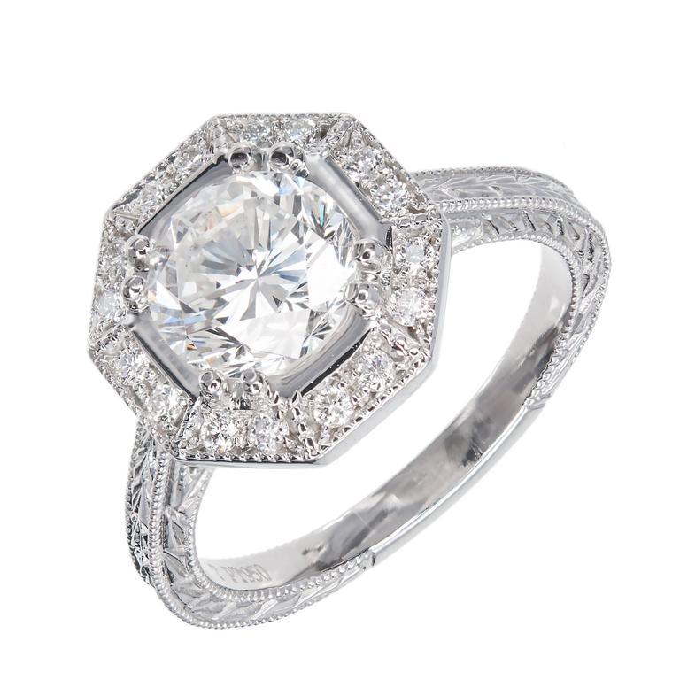Peter Suchy Octagonal Diamond Halo Platinum Engagement Ring