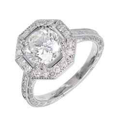 Peter Suchy Octagonal Diamond Halo Platinum Engagement Ring