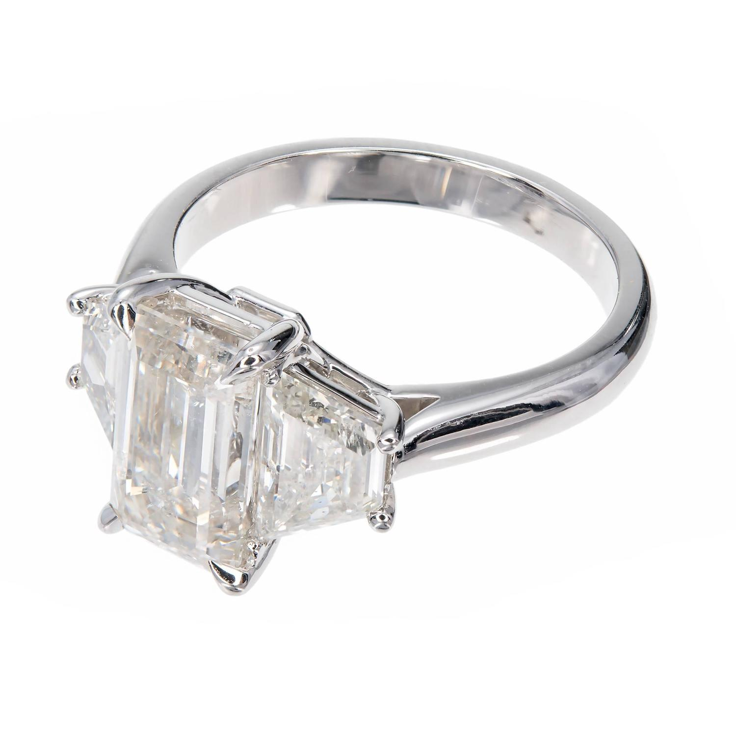 Peter Suchy Emerald Cut Diamond Platinum Three Stone Engagement Ring For Sale
