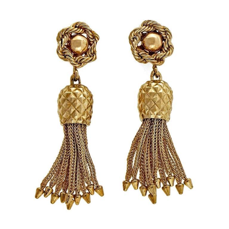 1950s gold rope tassel dangle earrings for sale at 1stdibs