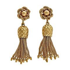 1950s Gold Rope Tassel Dangle Earrings
