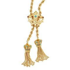 Turquoise Garnet Gold Crown Tassel Rope Pendant Necklace