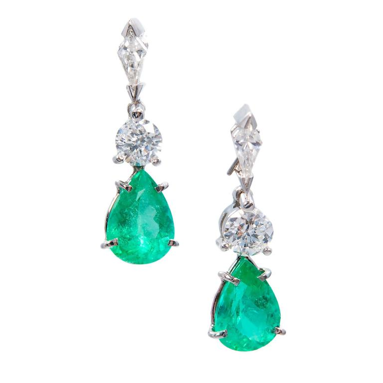 Gia Certified 3.47 Carat Pear Emerald Diamond Platinum Dangle Earrings For Sale