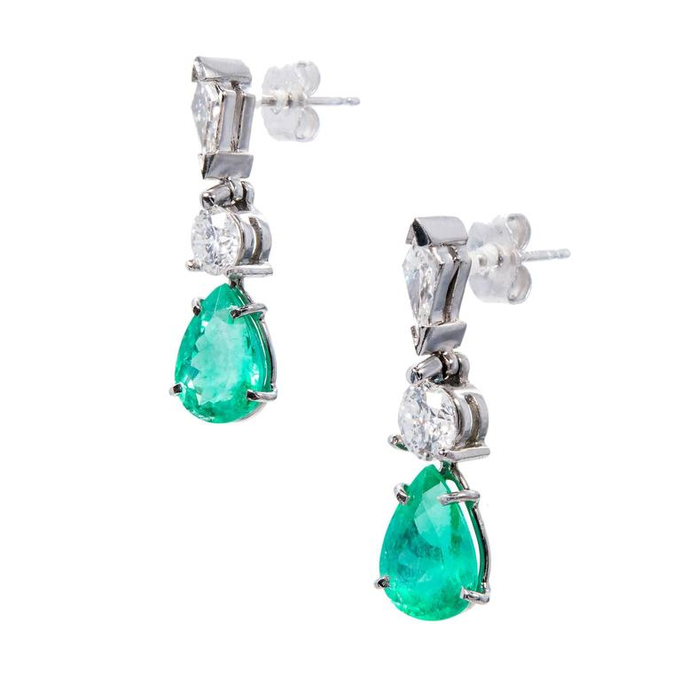Women's Gia Certified 3.47 Carat Pear Emerald Diamond Platinum Dangle Earrings For Sale