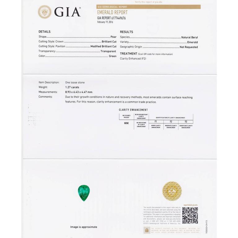 Gia Certified 3.47 Carat Pear Emerald Diamond Platinum Dangle Earrings For Sale 3