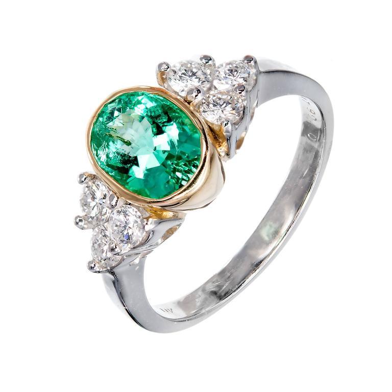 1.38 Carat Natural Colombian Emerald Diamond Gold Platinum Engagement Ring
