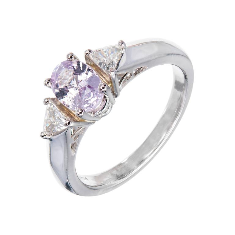 Natural Pink Sapphire Diamond Platinum Engagement Ring