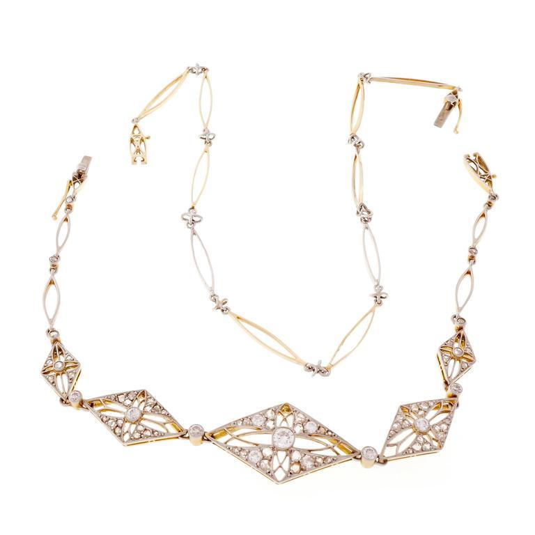 Diamond Gold Platinum Bracelet Necklace