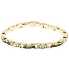 Square Sapphire Round Diamond Gold Bracelet