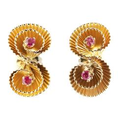 1950s Handmade Ruby Gold Double Swirl Earrings