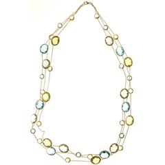 Lemon Quartz Blue Topaz Green Amethyst Three Strand Necklace
