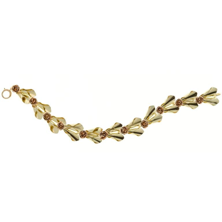 Tiffany & Co. Krementz Two Color Gold Flower Design Bracelet In Good Condition For Sale In Stamford, CT