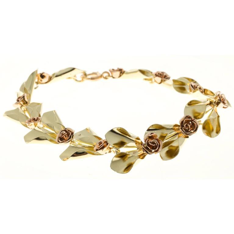 Tiffany & Co. Krementz Two Color Gold Flower Design Bracelet For Sale