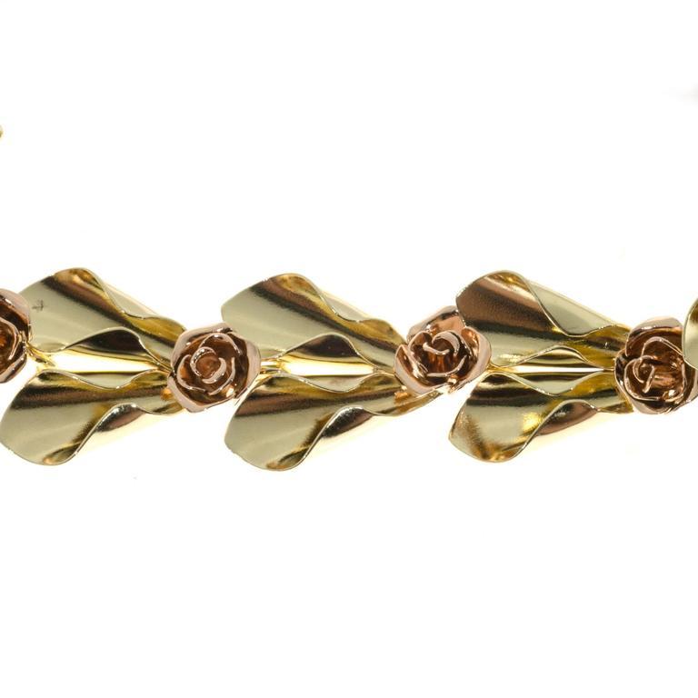 Tiffany & Co. Krementz Two Color Gold Flower Design Bracelet For Sale 1