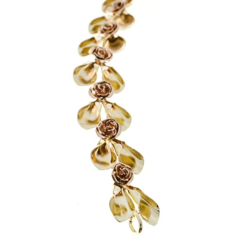 Women's Tiffany & Co. Krementz Two Color Gold Flower Design Bracelet For Sale