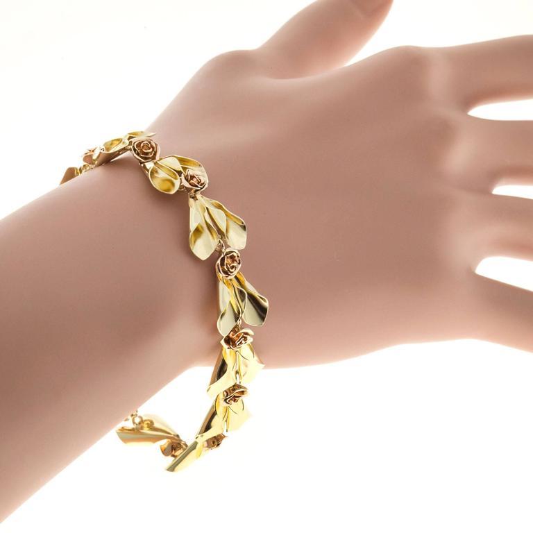 Tiffany & Co. Krementz Two Color Gold Flower Design Bracelet For Sale 2