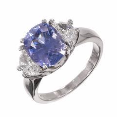 Peter Suchy Violet Sapphire Diamond Platinum Three Stone Engagement Ring