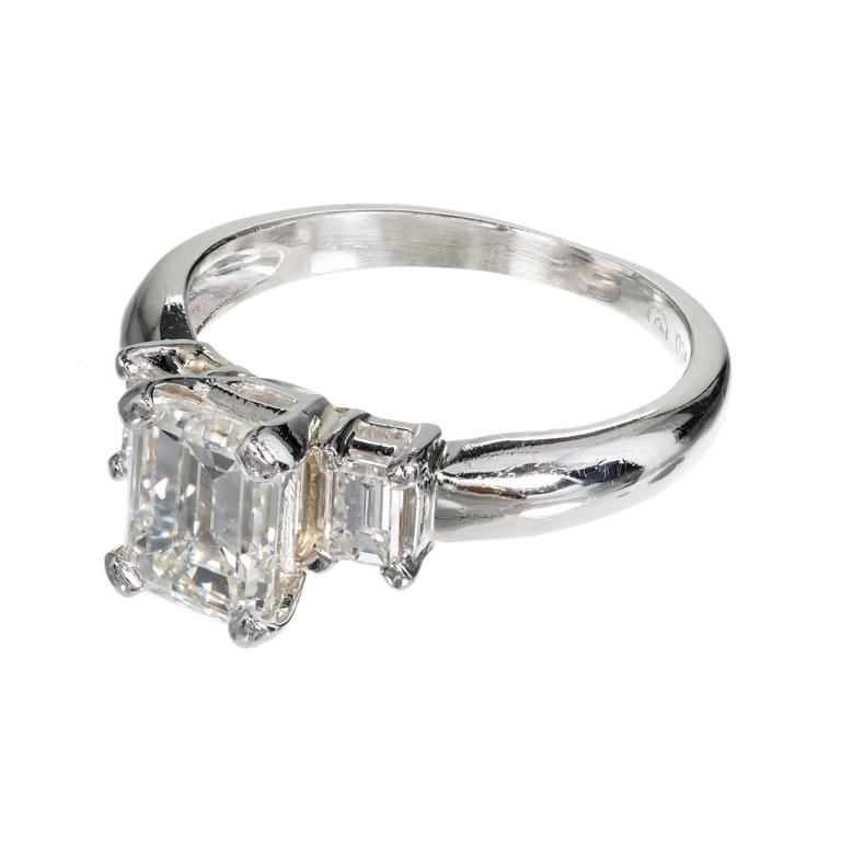 Three Stone Emerald Cut Diamond Platinum Engagement Ring For Sale at 1stdibs