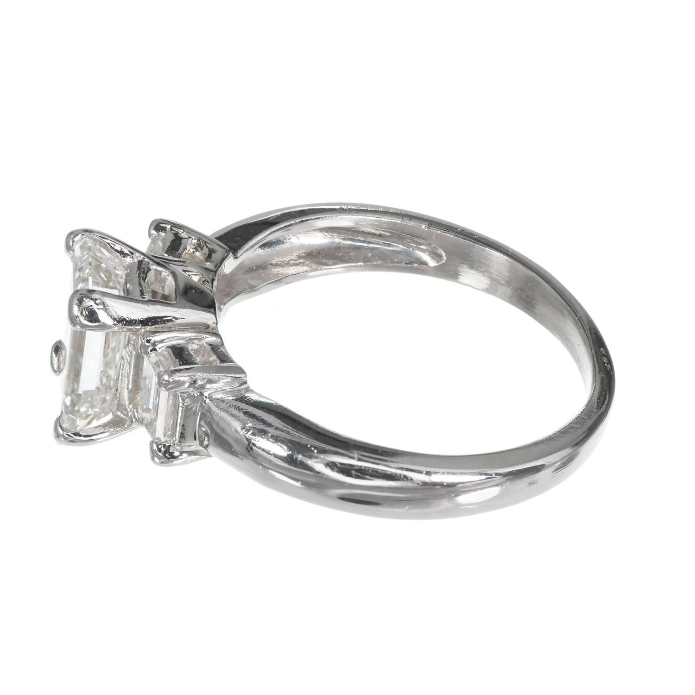 Three Stone Emerald Cut Diamond Platinum Engagement Ring For Sale at 1stdibs
