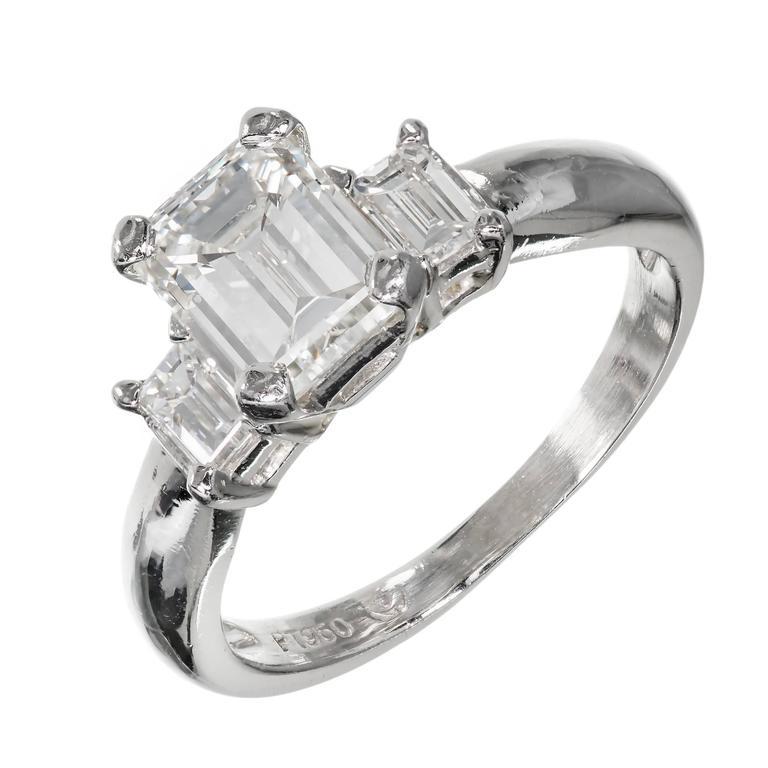 Three Stone Emerald Cut Diamond Platinum Engagement Ring