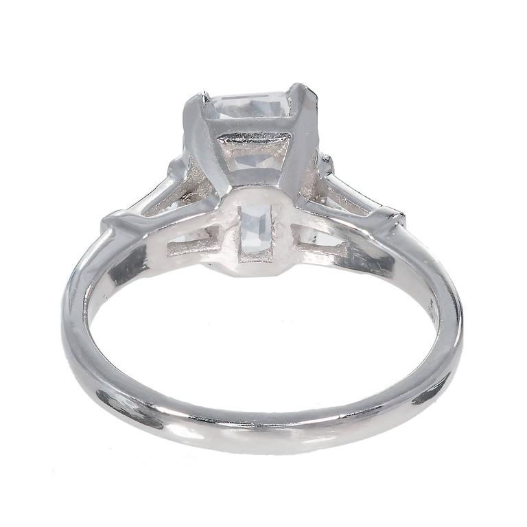 Natural White Sapphire Diamond Platinum Engagement Ring For Sale at 1stdibs