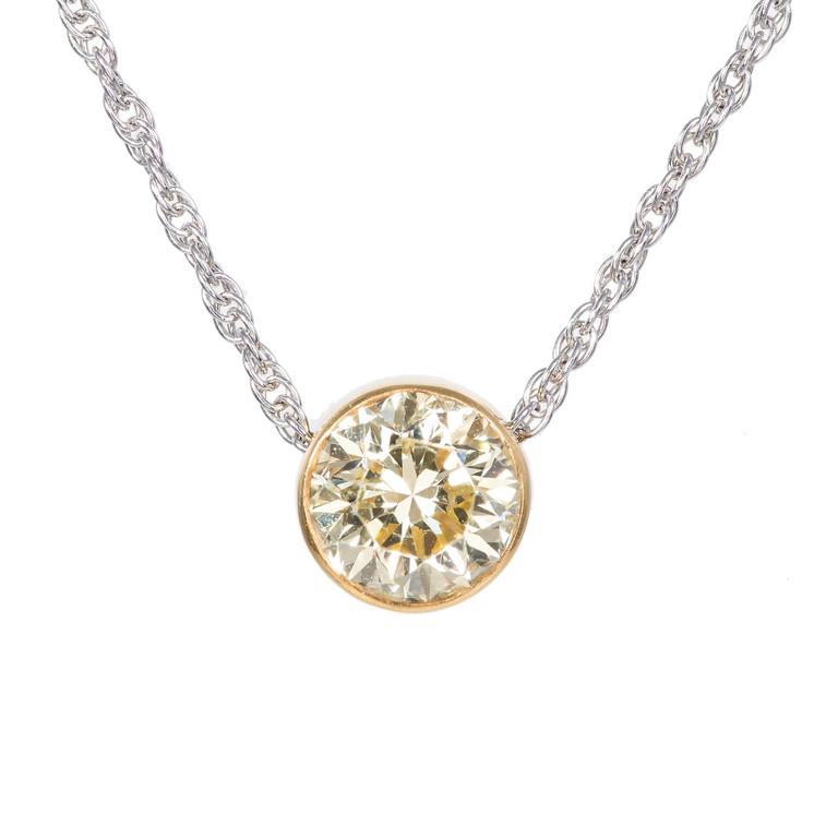 Peter Suchy Fancy Yellow Diamond Platinum Pendant Necklace