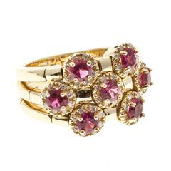 Sonia B Red Rubellite Diamond Gold Flex Ring