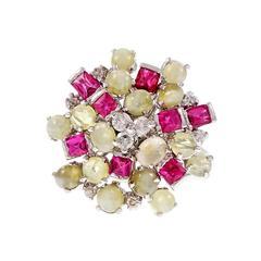 Chrysoberyl Spinel Cat's Eye Diamond Gold Cluster Ring