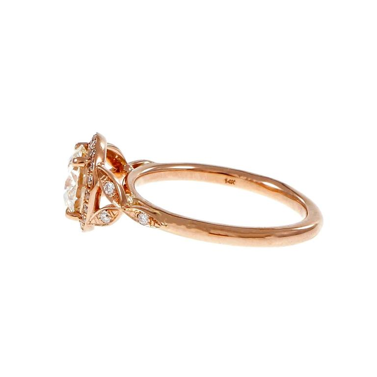 Peter Suchy 1.37 Carat GIA Certified Diamond Halo Gold Engagement Ring 4