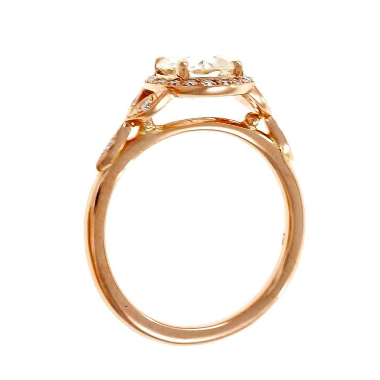 Peter Suchy 1.37 Carat GIA Certified Diamond Halo Gold Engagement Ring 5