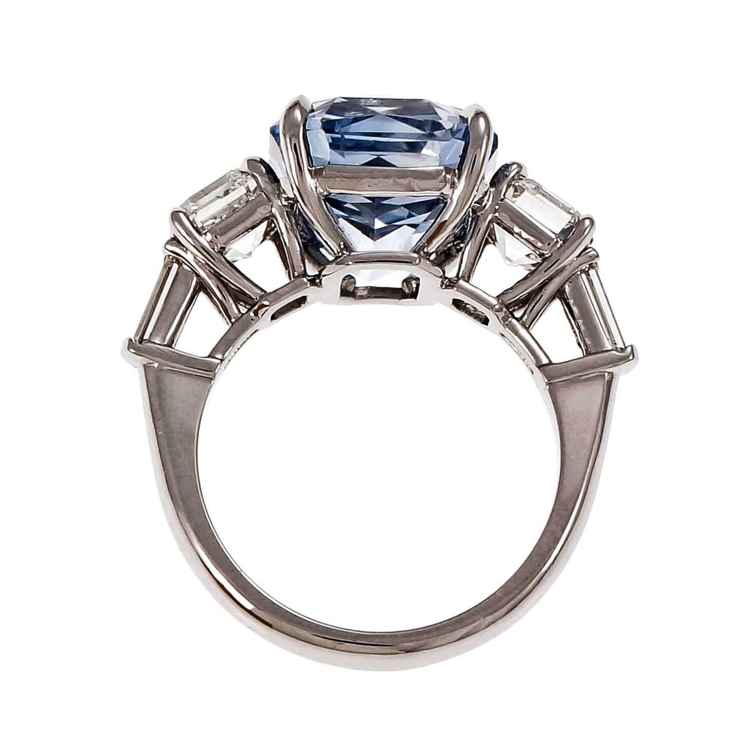 Peter Suchy Light Blue Sapphire Diamond Platinum Engagement Ring For Sale at