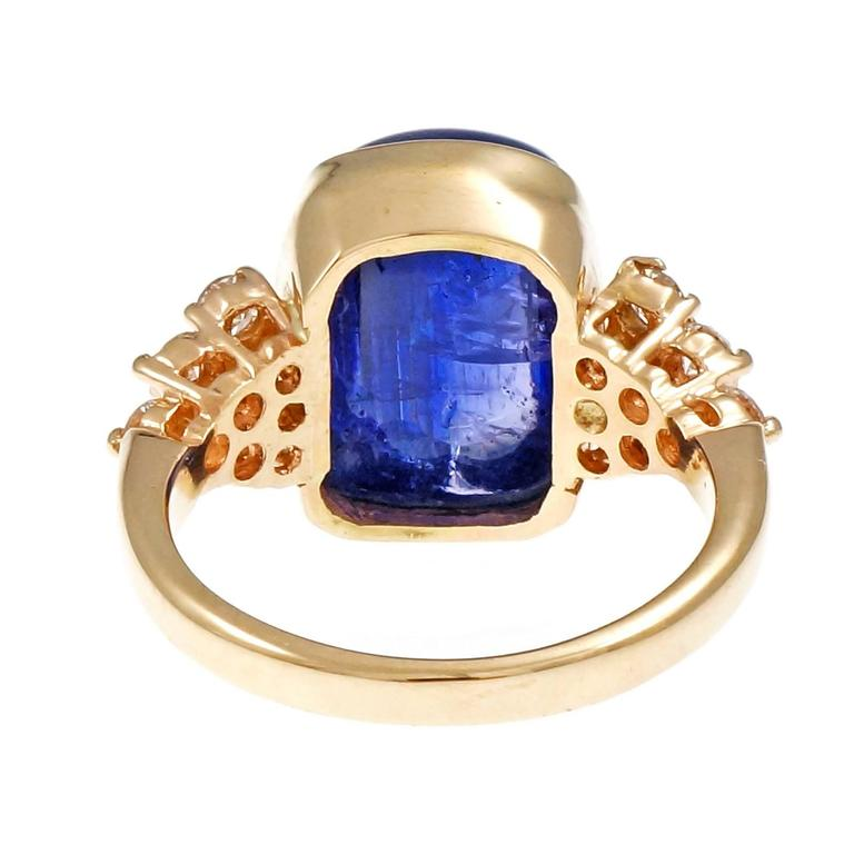 Blue Purple Tanzanite Diamond Gold Engagement Ring For Sale 1