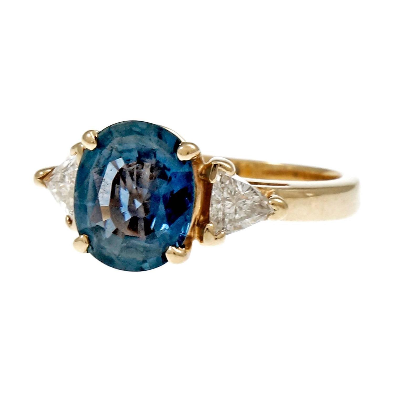 Natural Blue Oval Sapphire Diamond Three-Stone Gold