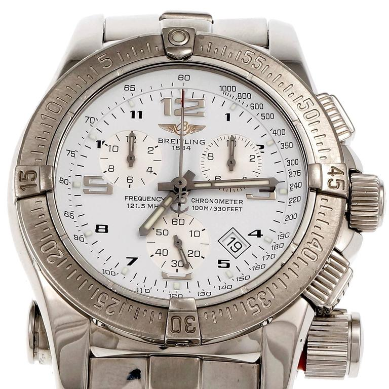 Breitling Emergency A73321 stainless steel with steel full length band. Day and Chronograph. Breitling model designed for pilots and leaders with an FAA registered transmitter that allows the FAA to locate the wearer when activated. 