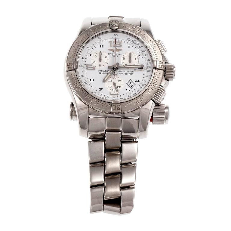 Breitling Stainless Steel Chronograph Date Emergency Beacon Wristwatch In Good Condition For Sale In Stamford, CT