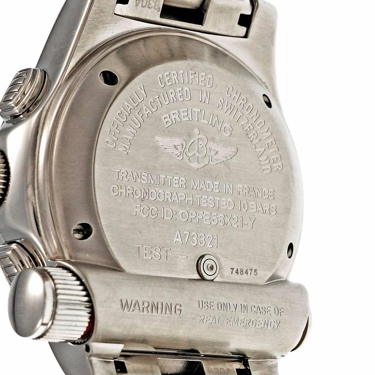 Breitling Stainless Steel Chronograph Date Emergency Beacon Wristwatch For Sale 3
